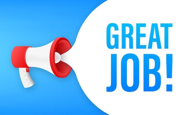 Mégaphone avec excellent travail. bannière mégaphone. création de sites web. illustration vectorielle de stock.