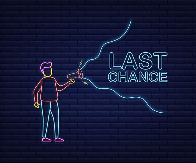 Megaphone hand, concept d'entreprise avec texte dernière chance. style néon. illustration vectorielle de stock.