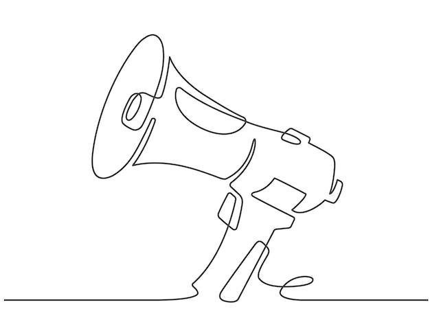 Mégaphone à ligne continue. bannière de promotion marketing avec haut-parleur ou haut-parleur à corne. vecteur d'annonce d'attention, d'offre ou d'alerte. publicité de promotion d'illustration, annonce de minimalisme