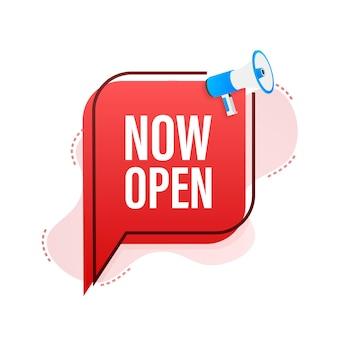 Mégaphone avec maintenant ouvert. bannière mégaphone. création de sites web. illustration vectorielle de stock.