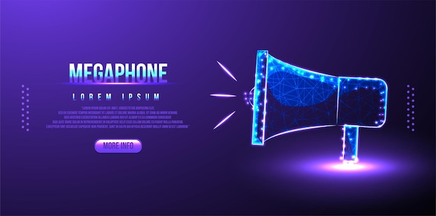 Mégaphone, nous recrutons, annonce low poly wireframe