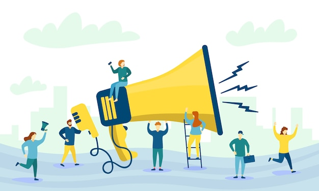 Mégaphone et personnages. grand mégaphone et personnages plats de la publicité. concept de marketing. promotion commerciale, publicité, appel via le klaxon, alerte en ligne. .
