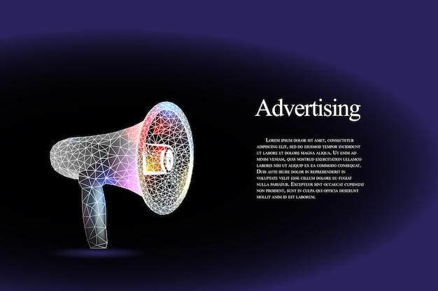 Mégaphone. plancher bas et cadre marketing noir et violet