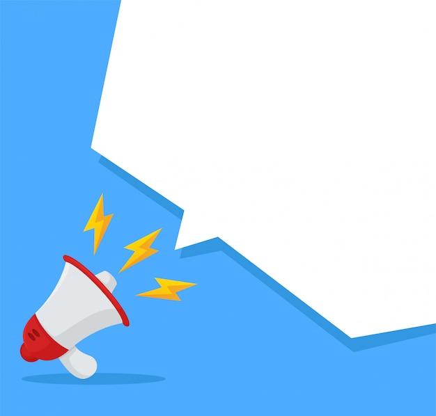 Mégaphone qui annonce fort sur la zone de texte blanche de votre message.