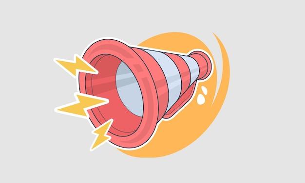 Mégaphone rétro en style cartoon