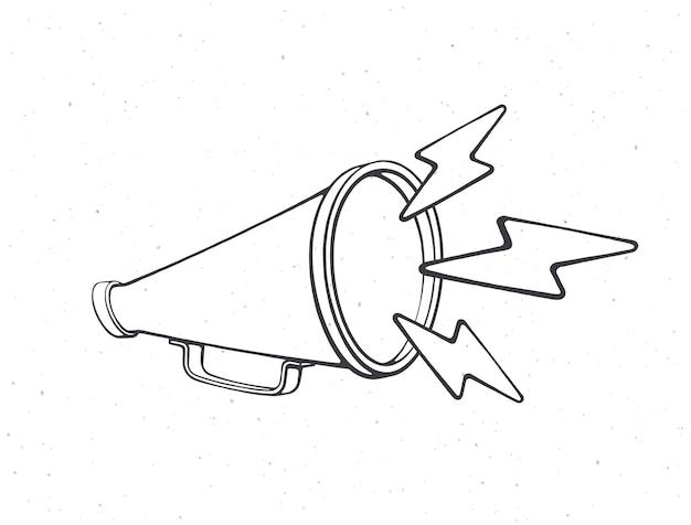 Mégaphone rétro avec symbole d'éclairs de bruit contour main haut-parleur illustration vectorielle