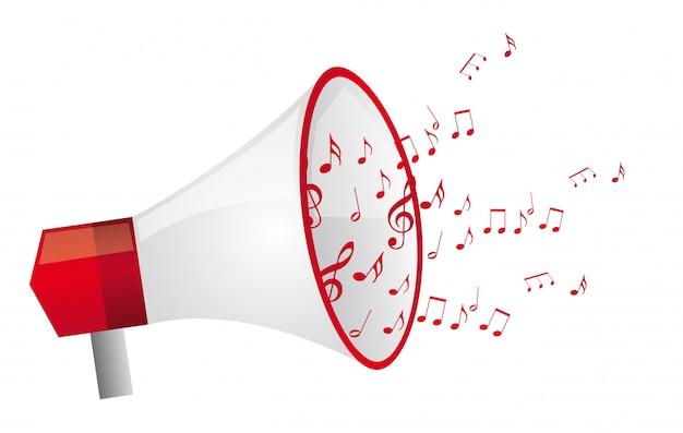 Mégaphone rouge witth notes de musique isolés illustration vectorielle