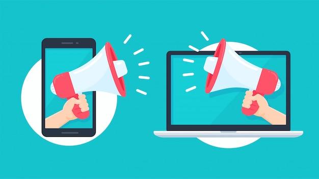 Mégaphone sortant de l'écran du smartphone et de l'ordinateur portable pour envoyer des alertes pour les promotions de produits.
