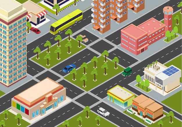 Mégapoles de la ville isométrique plate
