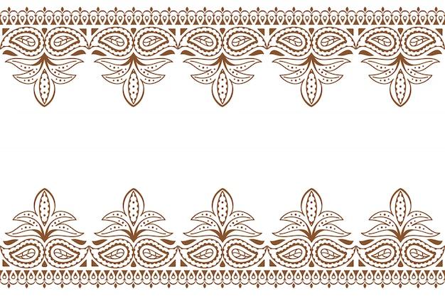 Mehndi. motif de broderie indienne avec ornement au henné.
