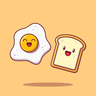 Meilleur ami mignon oeuf au plat et pain plat