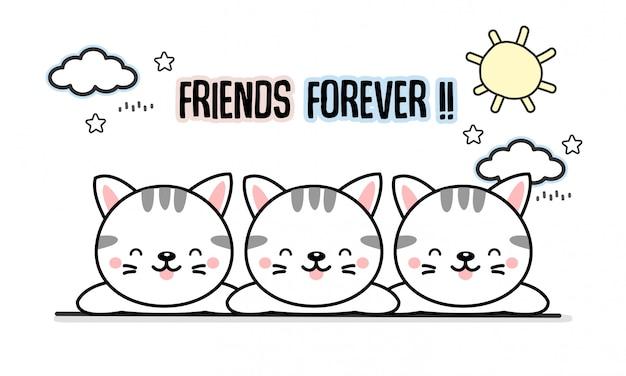 Meilleur ami pour toujours caricature de chats.