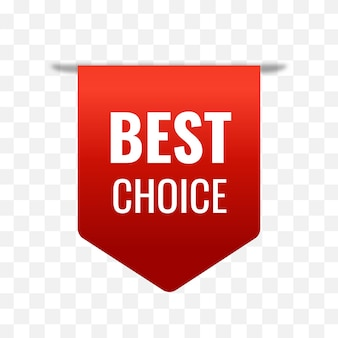 Meilleur choix tag vecteur étiquette rouge isolé sur fond transparentmeilleur choix ruban bannière