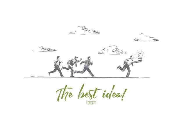 Le meilleur concept d'idée. gens dessinés à la main en cours d'exécution avec une ampoule lumineuse. homme d'affaires fait une excellente illustration isolée de solution.