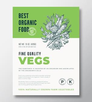 Meilleur design d'emballage de vecteur abstrait d'aliments biologiques ou modèle d'étiquette. bannière de repas cultivés à la ferme. typographie moderne et mise en page de fond de croquis de légumes et d'herbes dessinés à la main avec une ombre douce.