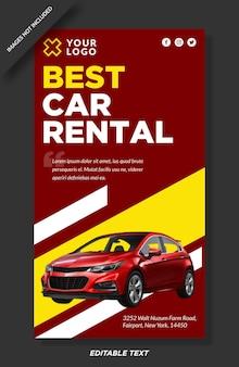 Meilleur design de modèle d'histoires instagram de location de voiture