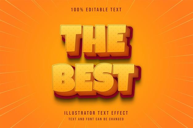 Le meilleur, effet de texte modifiable 3d dégradé jaune orange style bande dessinée moderne