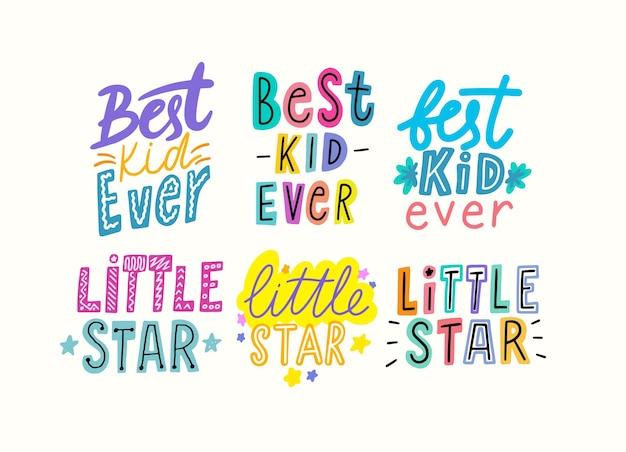 Meilleur enfant de tous les temps, lettrage de dessin animé little star, conception d'impressions de t-shirts pour vêtements pour bébés, phrases lumineuses colorées, éléments graphiques pour t-shirts pour bébés, dessin de pépinière, emblèmes. illustration vectorielle, ensemble