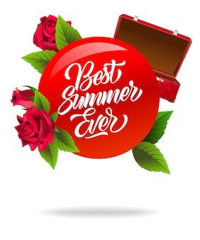 Meilleur été affiche jamais avec valise ouverte rouge et roses.