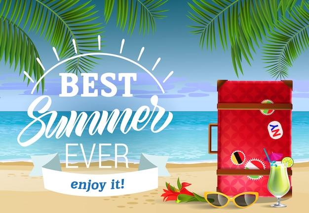 Meilleur été de tous les temps, profitez du lettrage avec plage de mer et cocktail. publicité de vente