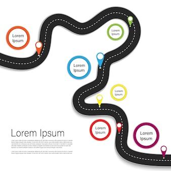 Meilleur itinéraire de voyage. voyage en voiture. infographie affaires et voyages
