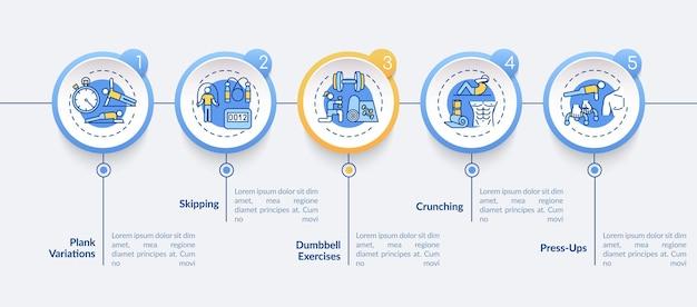 Meilleur à la maison exercice modèle infographique de vecteur. visualisation des données en 5 étapes.