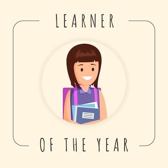 Meilleur modèle de bannière élève. jolie fille, élève de sexe féminin, photographe scolaire dans le cadre