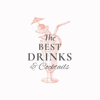 Meilleur modèle d'emblème de boissons cocktail exotique dessiné à la main avec des fruits de pipes à boire et un croquis de parapluie