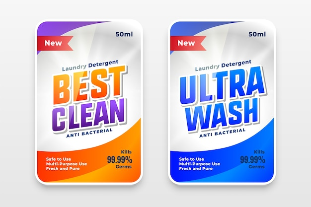 Meilleur modèle d'étiquettes de détergent propre et ultra lavable