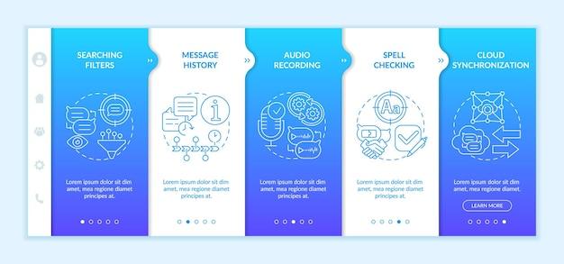 Meilleur modèle vectoriel d'intégration de la fonction de messagerie. logiciel de chat. site web mobile réactif avec des icônes. écrans de présentation de page web en 5 étapes. concept de couleur messenger avec illustrations linéaires
