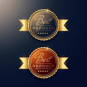 Meilleur or jeu d'étiquettes produit de luxe de deux badges