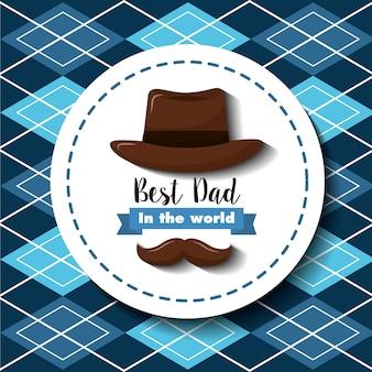 Meilleur papa dans le monde décoration de ruban de chapeau de moustache