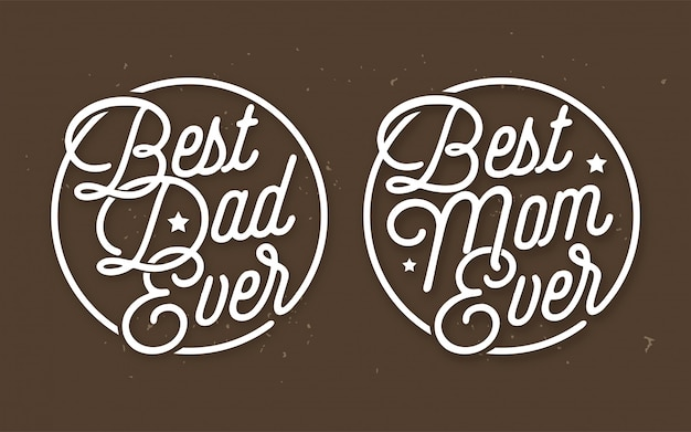 Meilleur papa jamais & meilleur maman jamais lettrage vecteur