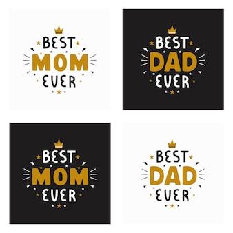 Meilleur papa jamais meilleure maman jamais inscription pour carte de voeux affiche festive sur blanc et noir