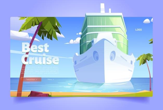 Meilleur paquebot blanc de page de destination de bande dessinée de croisière dans l'océan