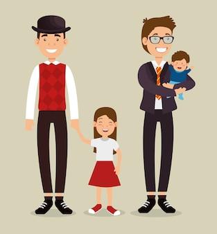 Meilleur père avec avatars fille et fils