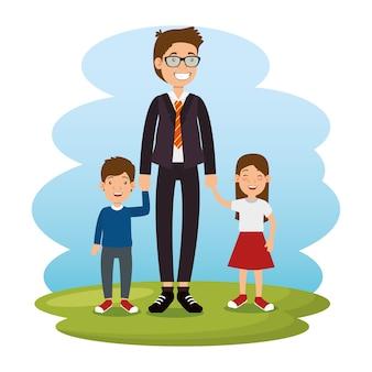 Meilleur père avec fille et fils avatars vector illustration design