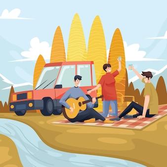 Meilleur pique-nique près de la rivière avec une voiture rouge et une personne jouant de la guitare