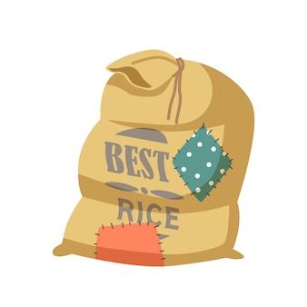 Meilleur sac de dessin animé de riz avec patchs amusants, sacs textiles avec production agricole agricole en balles brunes attachées avec une corde