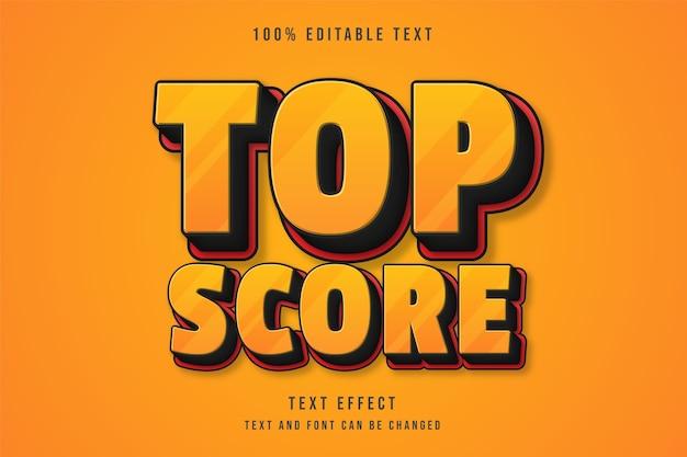 Meilleur score, effet de texte modifiable 3d dégradé jaune style de texte comique orange