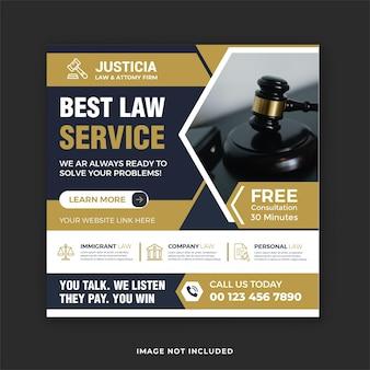 Meilleur service juridique et consultation juridique publication sur les réseaux sociaux et bannière instagram