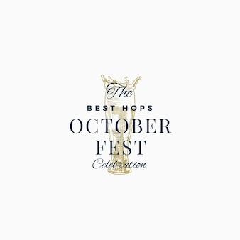 Meilleur signe abstrait de célébration de bière octoberfest, symbole ou modèle de logo.