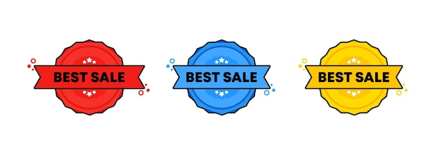 Meilleur timbre de vente. vecteur. meilleure icône de badge de vente. logo de badge certifié. modèle de timbre. étiquette, autocollant, icônes. vecteur eps 10. isolé sur fond blanc.