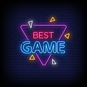 Meilleur vecteur de texte de style d'enseignes au néon de jeu