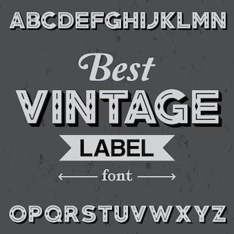 Meilleure affiche de police d'étiquette vintage avec alphabet sur l'illustration grise