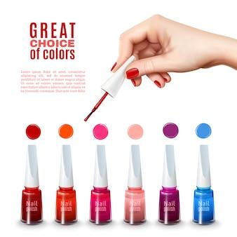 Meilleure affiche réaliste de couleurs de vernis à ongles