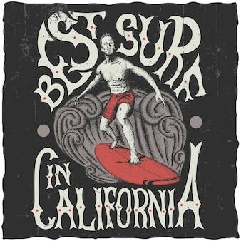 Meilleure affiche de surf en californie avec illustration de surfeur à bord