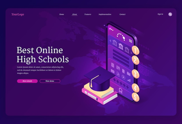 Meilleure bannière de lycées en ligne.