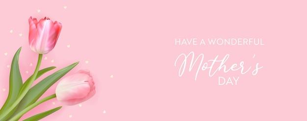 Meilleure bannière de modèle de fête des mères. illustration florale vectorielle. conception de voeux de fleurs de tulipe de printemps. bouquet de vacances invitation, flyer, couverture, affiche. journée de la femme, 8 mars carte de la journée internationale