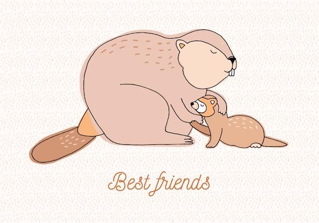 Meilleure carte d'amis. illustration colorée dessinés à la main avec castor et belette.
